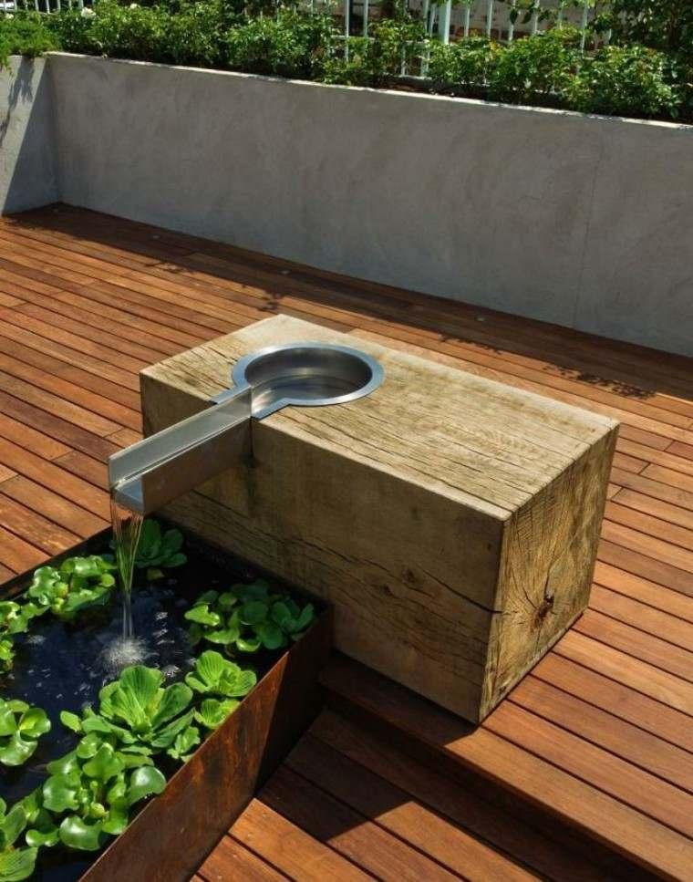 original fuente agua estilo zen terraza