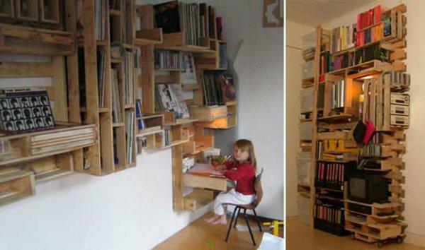 muebles estanterñias pared palet
