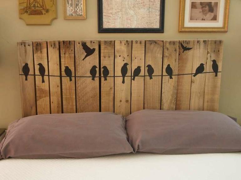 original diseño cabecero cama pajaritos