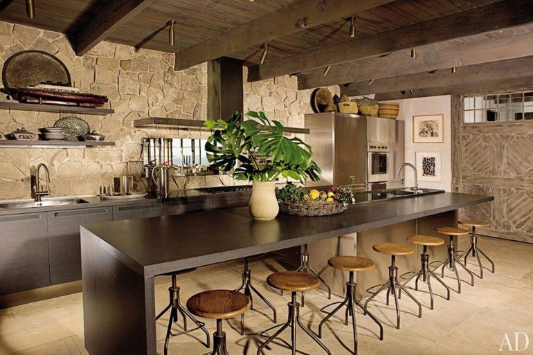 oroginal cocina rustica isla moderna