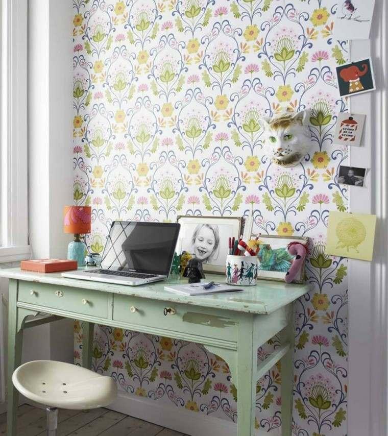 papel decorativo diseno vintage escritorio madera ideas