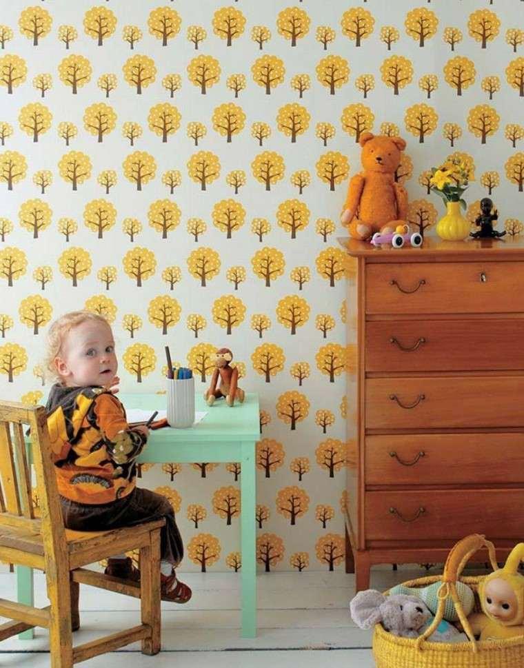 papel decorativo diseno vintage habitacion ninos ideas