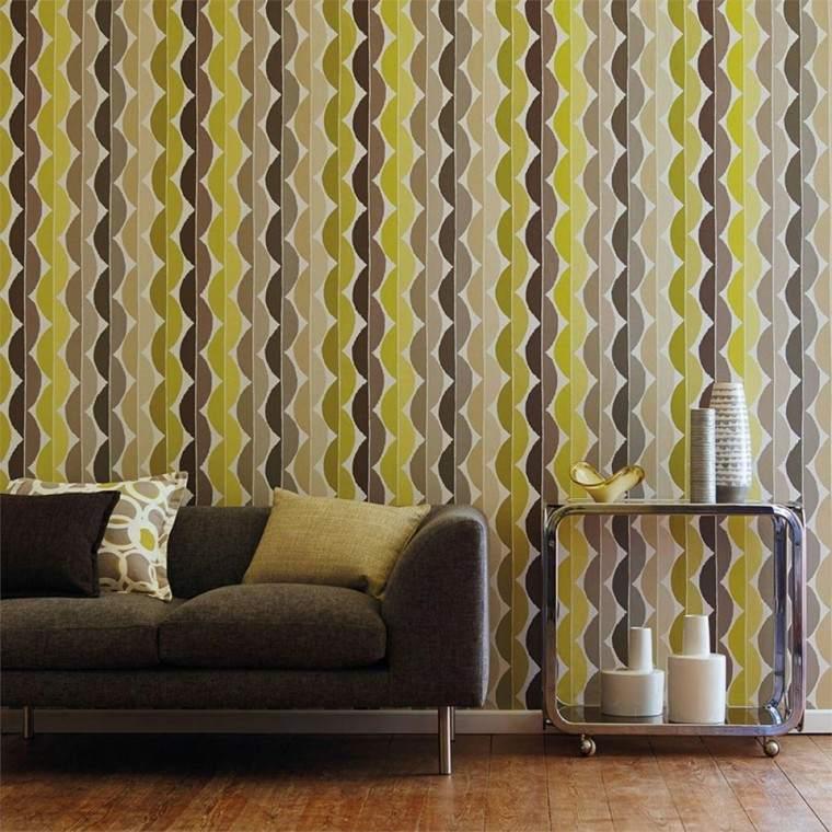 papel pared diseno vintage amarillo marron ideas