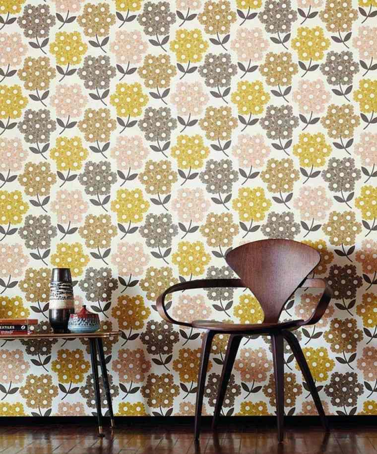 papel pared diseno vintage colores flores ideas