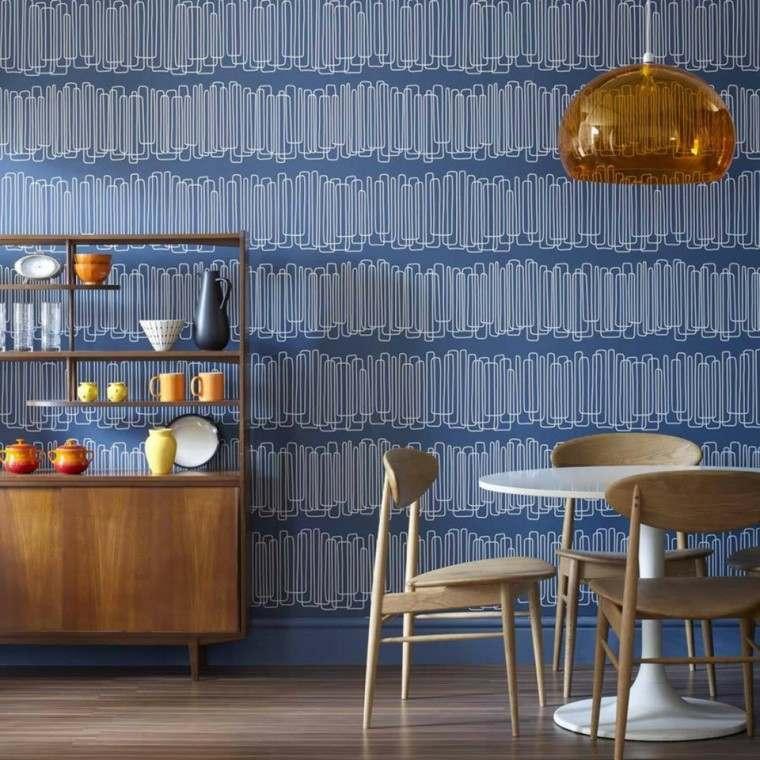 papel pared diseno vintage comedor azul ideas