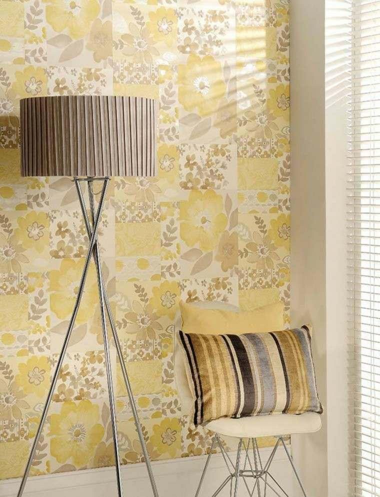 papel pared diseno vintage estampado amarillo ideas