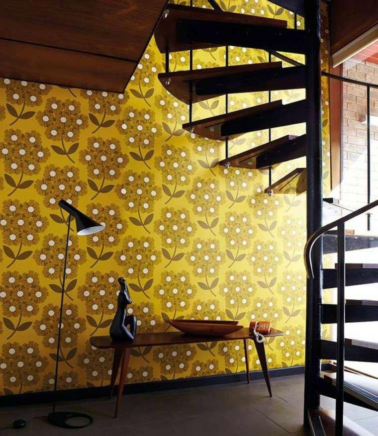 papel pared diseno vintage flores amarillas ideas