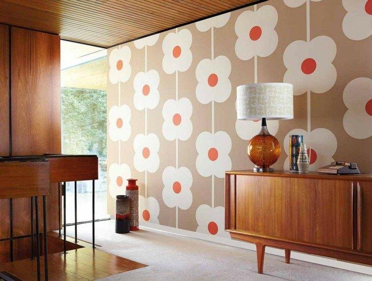 papel pared diseno vintage flores blancas ideas