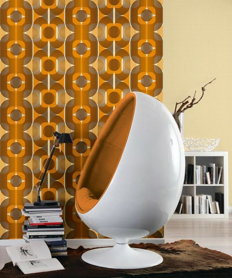 papel pared diseno vintage naranja sillon ideas
