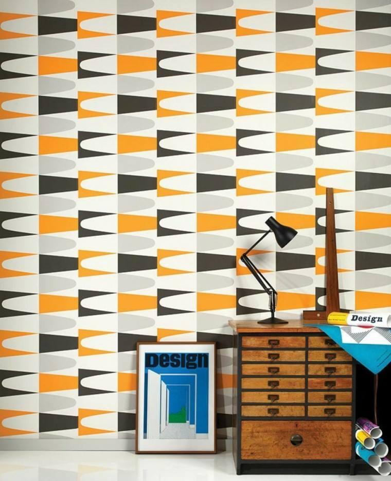 papel pared diseno vintage negro naranja gris ideas