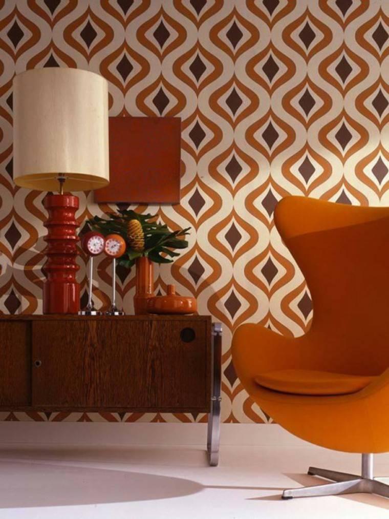 papel pared diseno vintage sillon naranja ideas