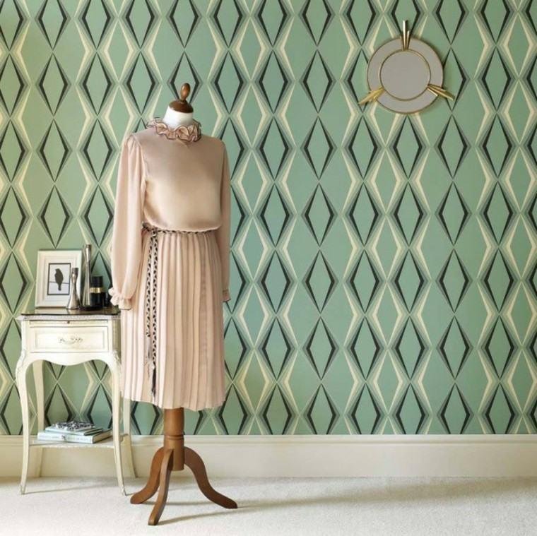papel pared diseno vintage verde rombo ideas