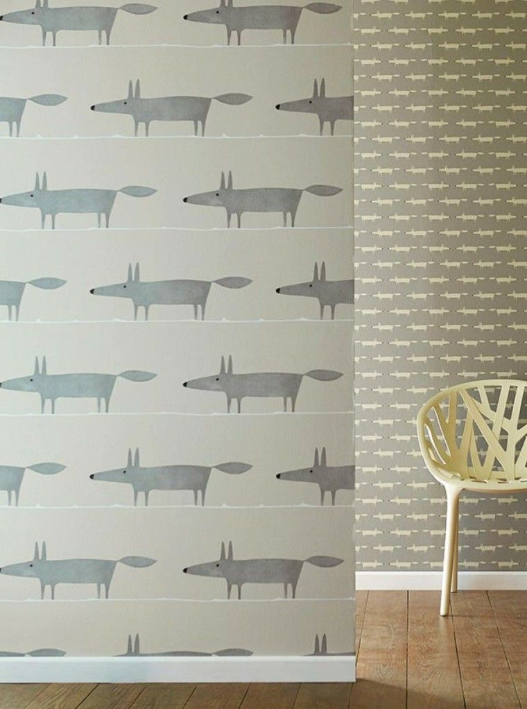 papel pared diseno vintage zorros grises ideas