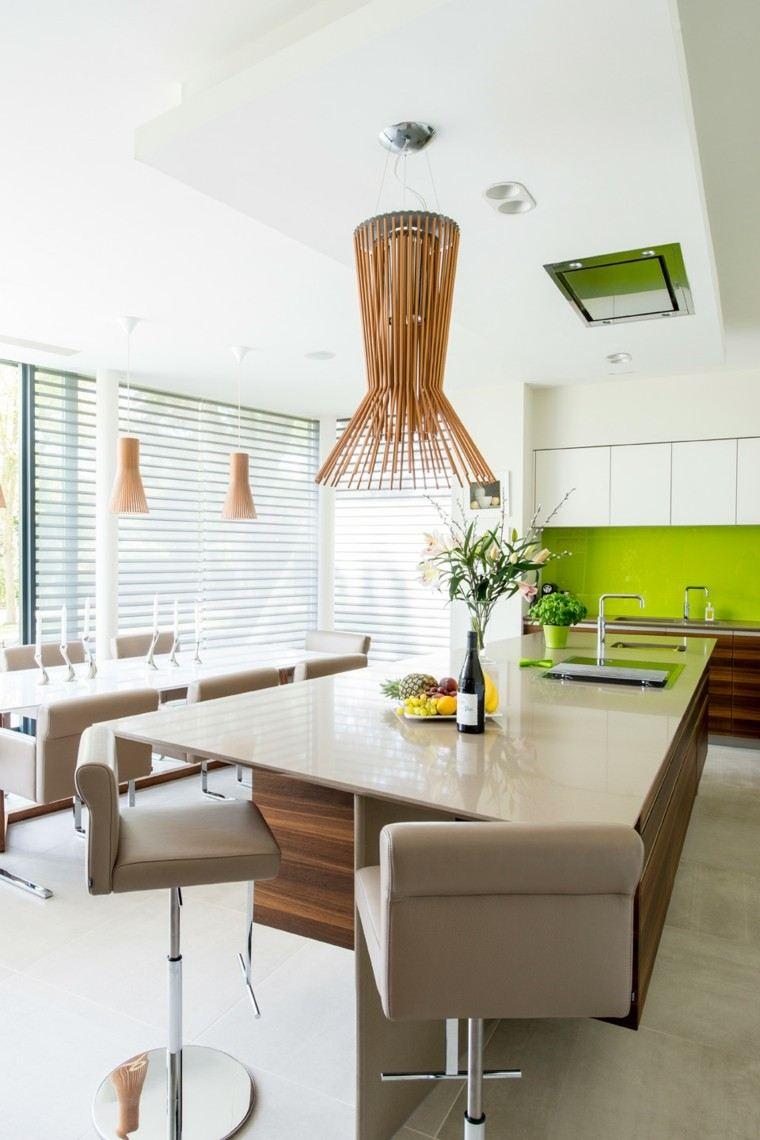 pared cocina verde llamativa abierta comedor ideas