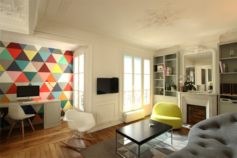pared decorada triangulos colores ideas