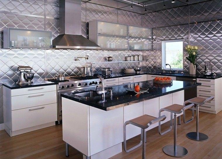 pared metalica preciosa cocina isla industrial ideas