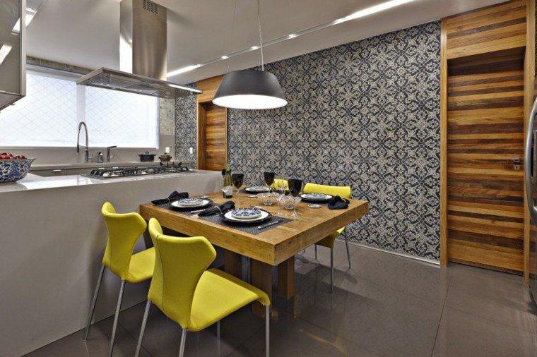 pared preciosa madera losas cocina ideas