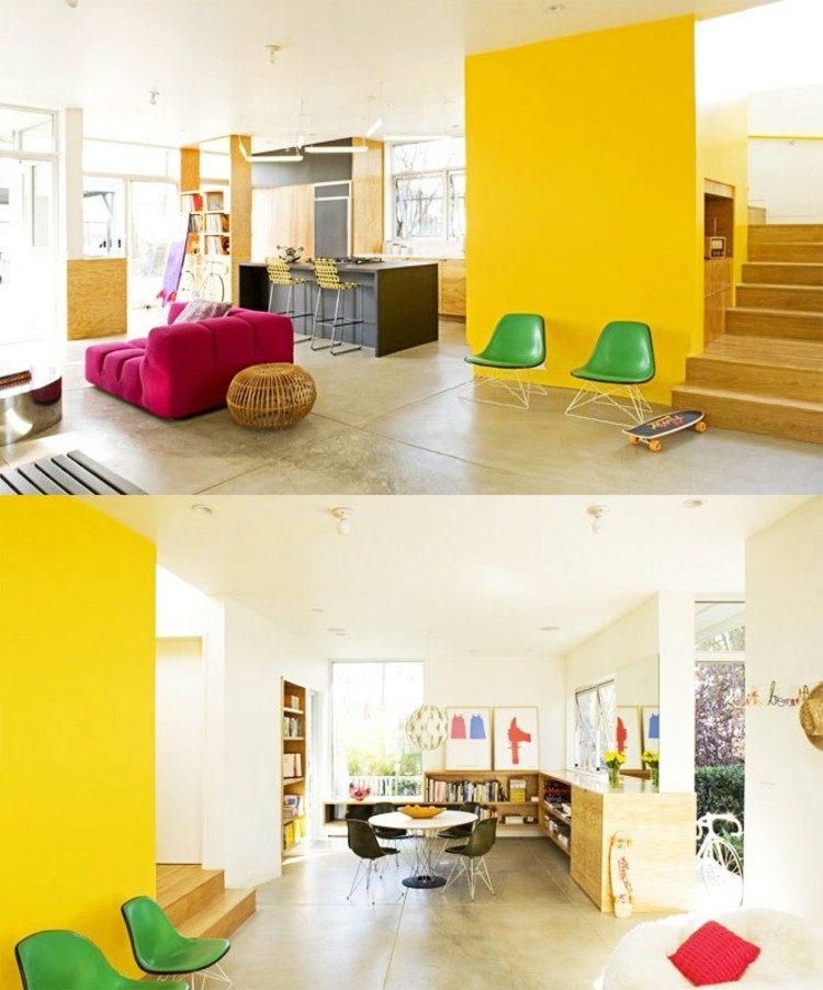 paredes acento amarillo zonas verdes