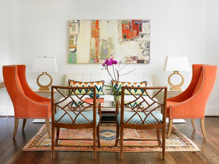 paredes diseños espacios variantes naranja