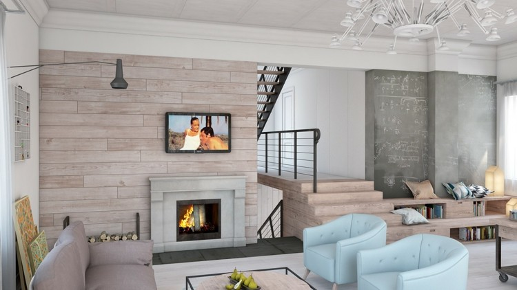 paredes pìzarra cuadros sillones flores diseño