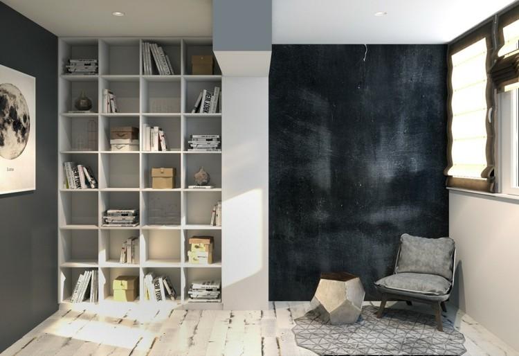 paredes pìzarra cuadros sillones negro