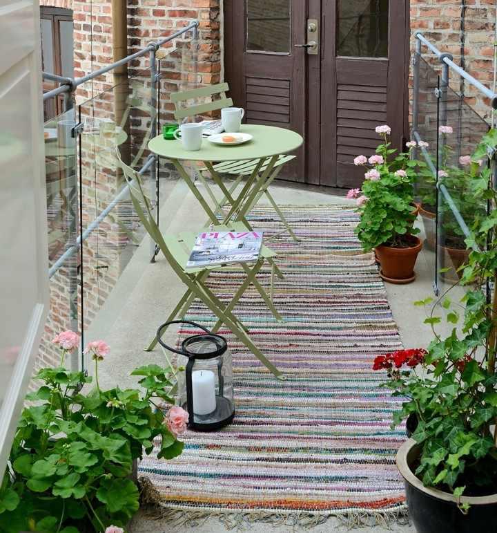 small terrace green terrace furniture