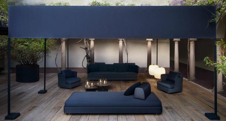 pergola sofa negra aire libre suelo madera ideas