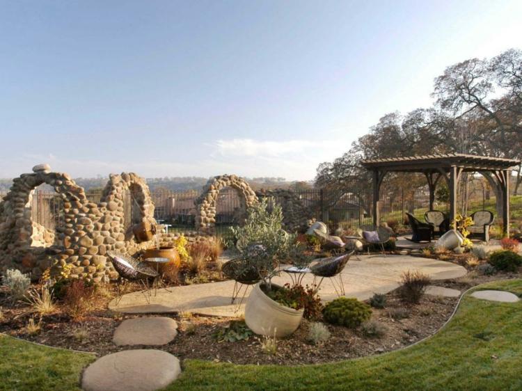 pergolas de madera senderos jardines rocas