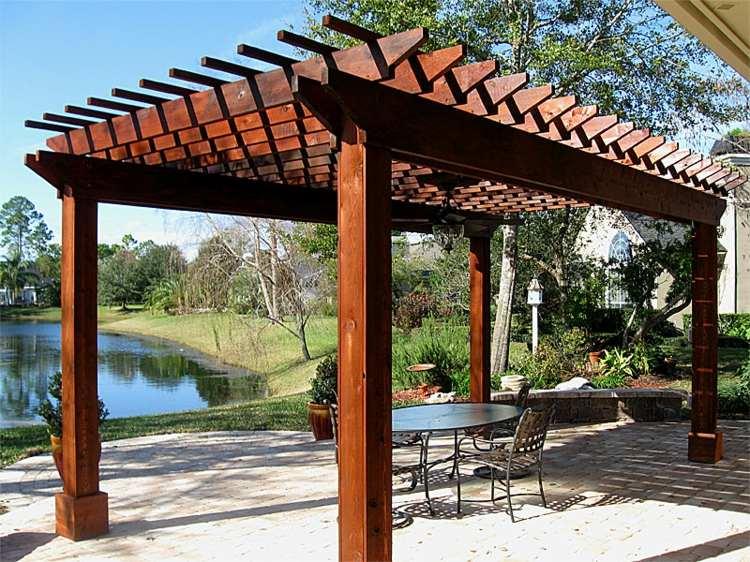 pergolas de madera sillones metales cojines metales - Pergolas Madera