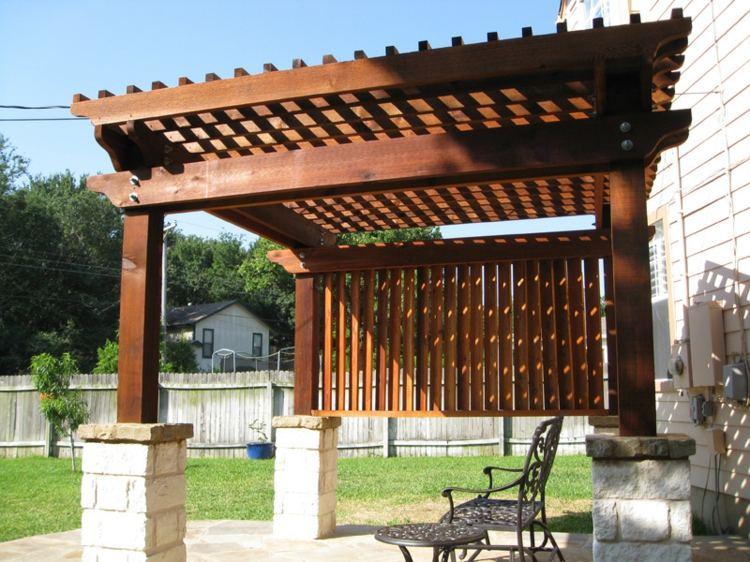 Pergolas de madera 50 creaciones perfectas para tu patio for Bases para pergolas