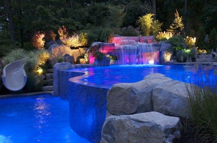 piscinas estilos casas patio rocas cascadas