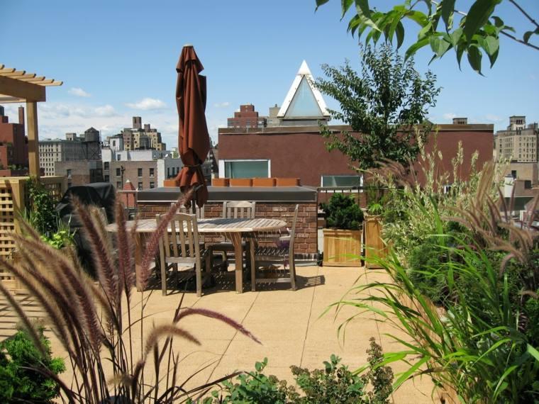 plantas diseño terrazasa decorados hierbas sombrillas