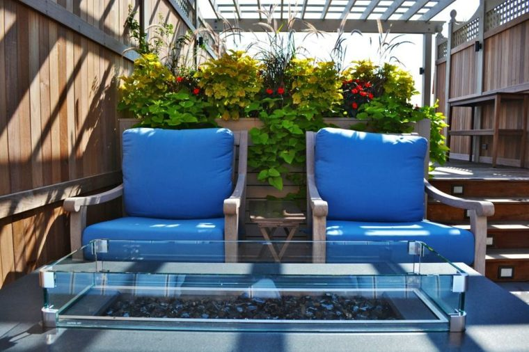 plants design terrace decorated tables