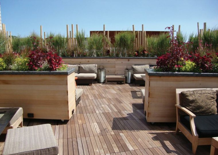 plantas diseño terrazasa maderas faroles maderas