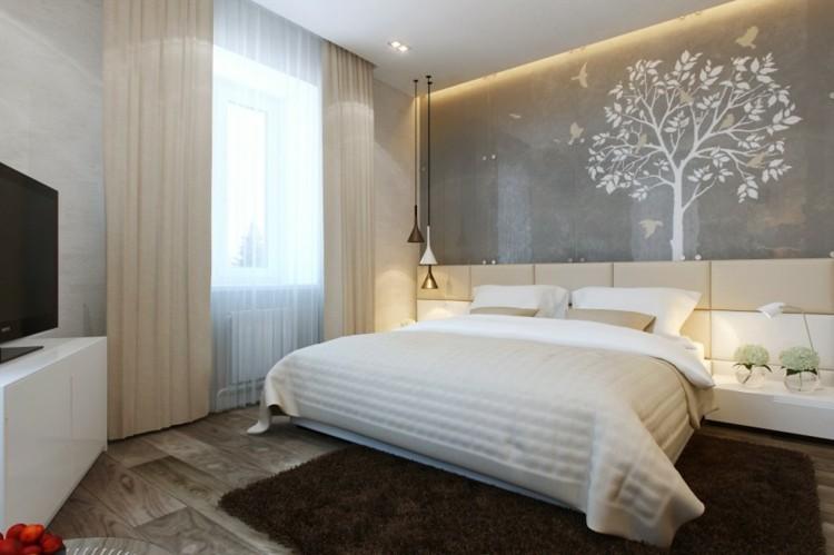 plantas dormitorios calidos muebles marrones
