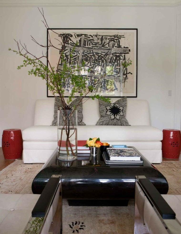 plantas taburetes rojos salon decorado ideas