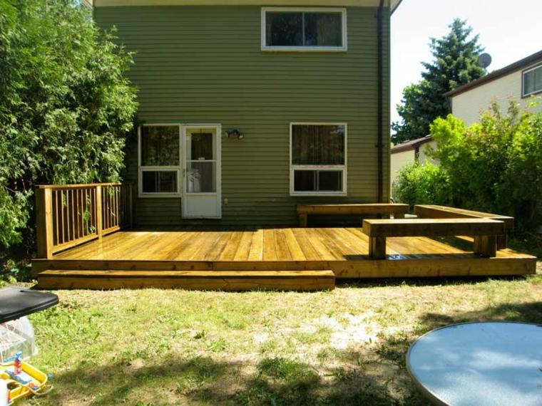 plataforma madera bancos decon obra