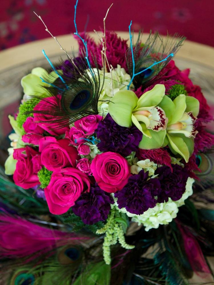 plumas combinado rosa exteriores flores