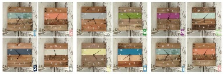 relojes pallet madera distintos colores