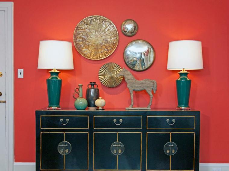 rojo detalles decorado sabanas cojines lamparas