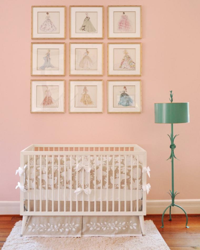 rosa detalles decorado sabanas lamparas infantil