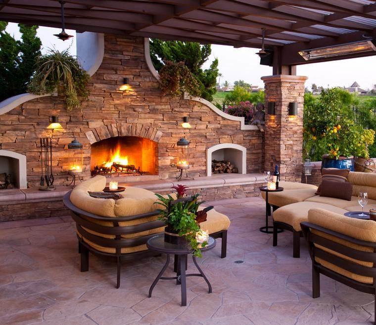 Patio con chimenea modern patio outdoor - Patios con barbacoa ...