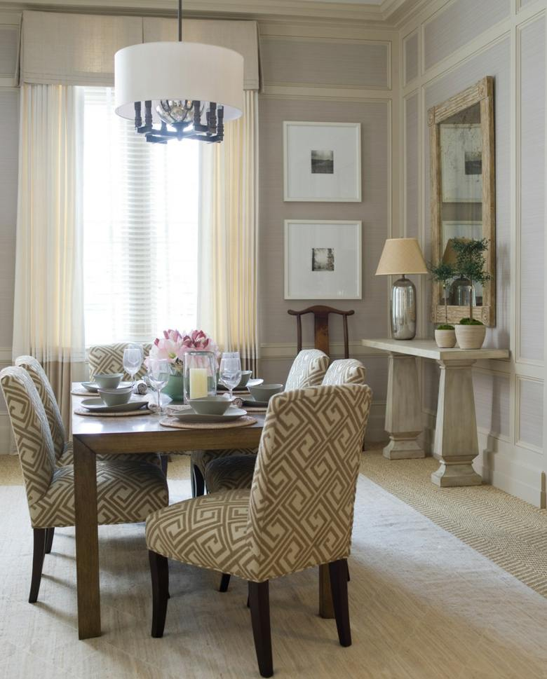 Cortinas de sala y comedor colores y estampados for Modern dining room table decorating ideas