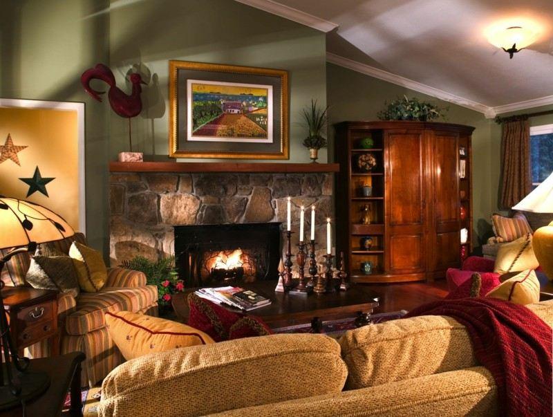 salon clásico decoración chimenea