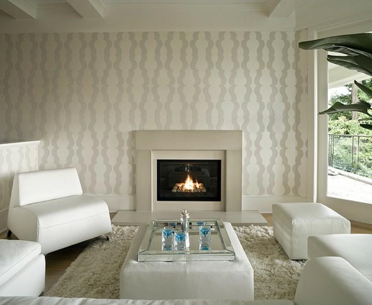 salon con chimenea decorado estilos jardines
