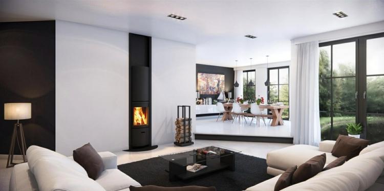 Salon con chimenea, creando ambientes elegantes.