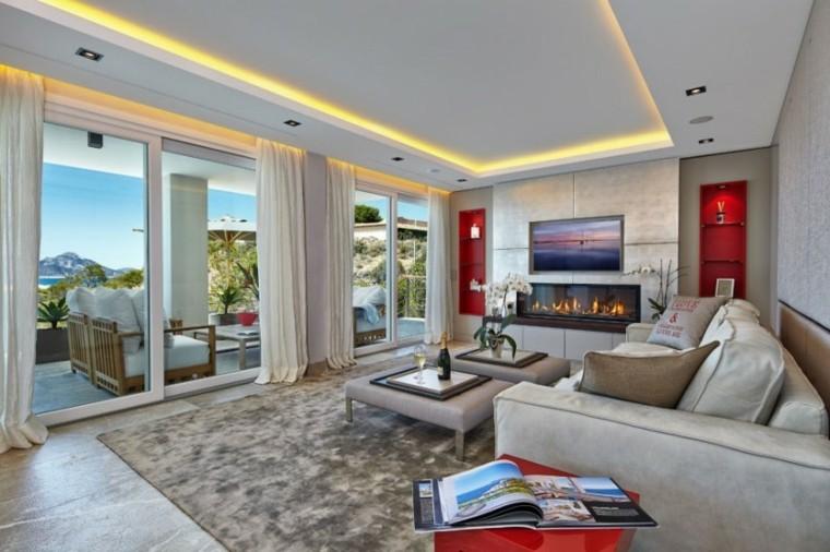 salon elegante chimenea moderna preciosas ideas