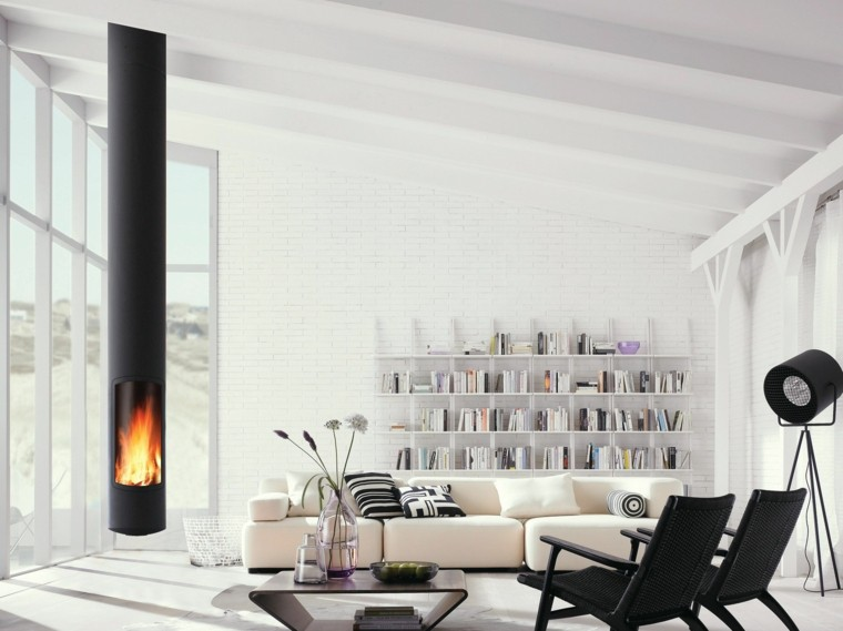 salon moderno chimenea techo negra ideas
