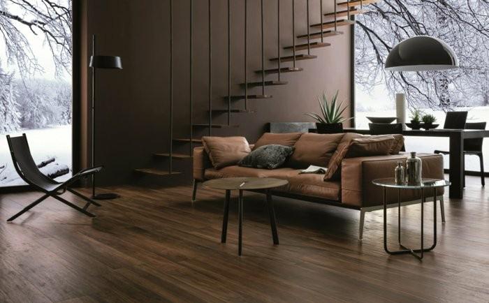 salon moderno escaleras colgantes madera