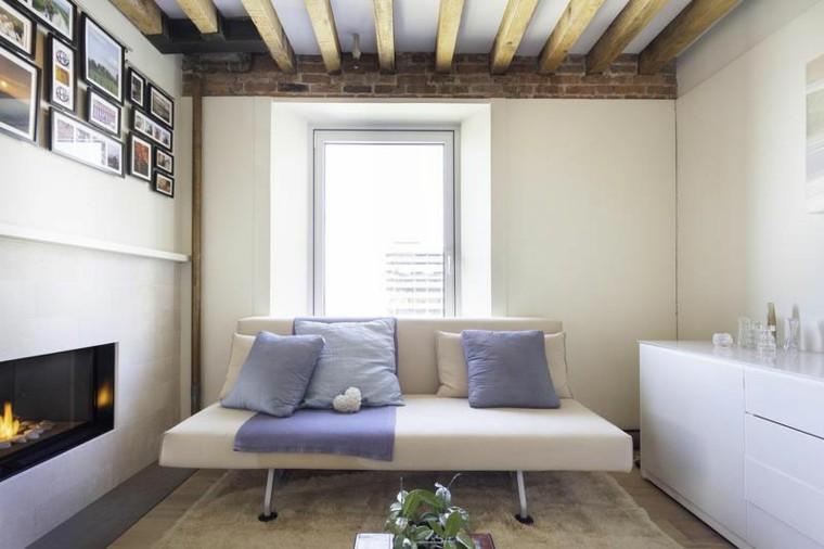 salon pequeno chimenea sofa pequena ideas